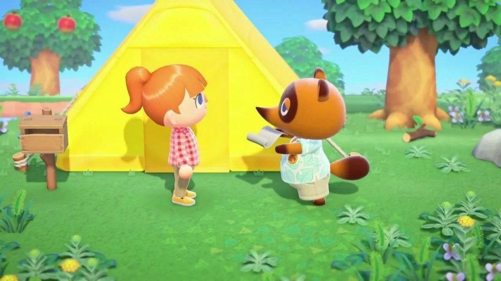 Personagem principal e tom nook conversando em frente a uma tenda