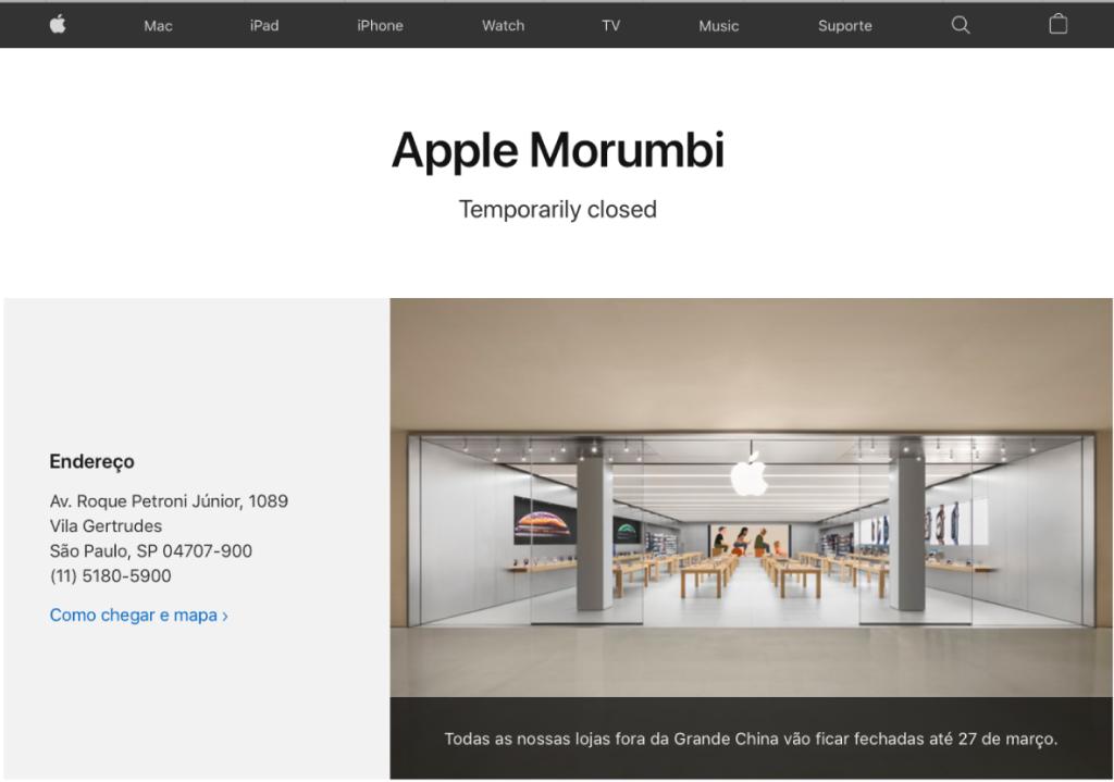 Site da apple anuncia fechamento da loja apple morumbi, de são paulo
