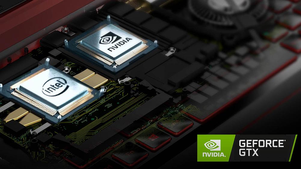 detalhe do hardware do Nitro 5, notebook da Acer, com logotipo da NVIDIA