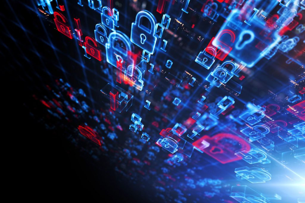 Imagem de cadeados simbolizando dados sendo protegidos graças ao uso de VPN