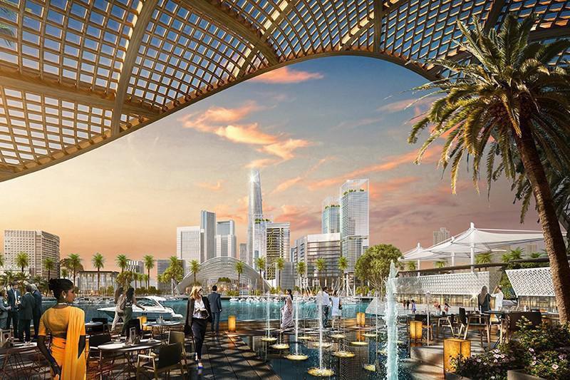 Ilustração de um hotel luxuoso em colombo port city