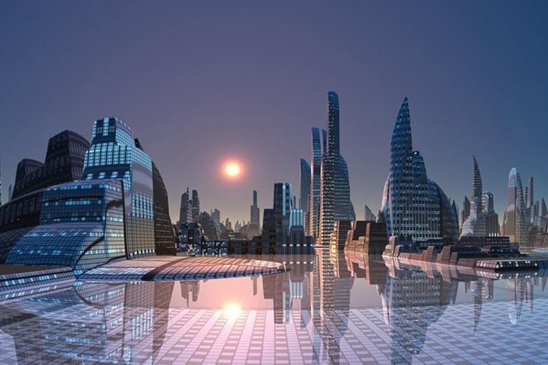 Ilustração mostrando como será uma área aberta cercada por prédios em neom