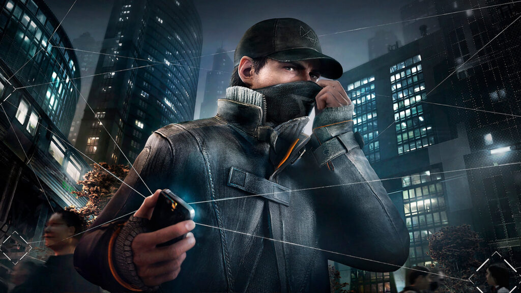 Aiden Pierce cobrindo seu rosto para hackear dispositivos