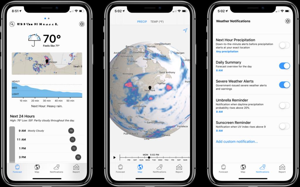 Reprodução de três telas do Dark Sky em iPhone. A primeira mostrando temperatura atual e previsão para o dia; a segunda com localização e a terceira aparece com configurações do app.