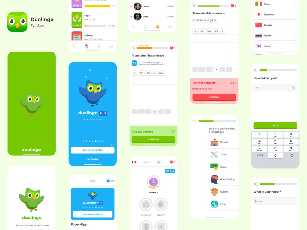 Várias telas mostrando diferentes áreas do Duolingo