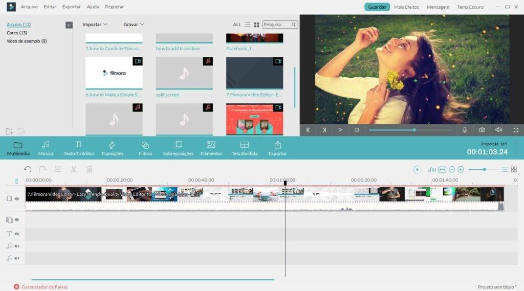 Screenshot de um dos editores de vídeo chamado Filmora
