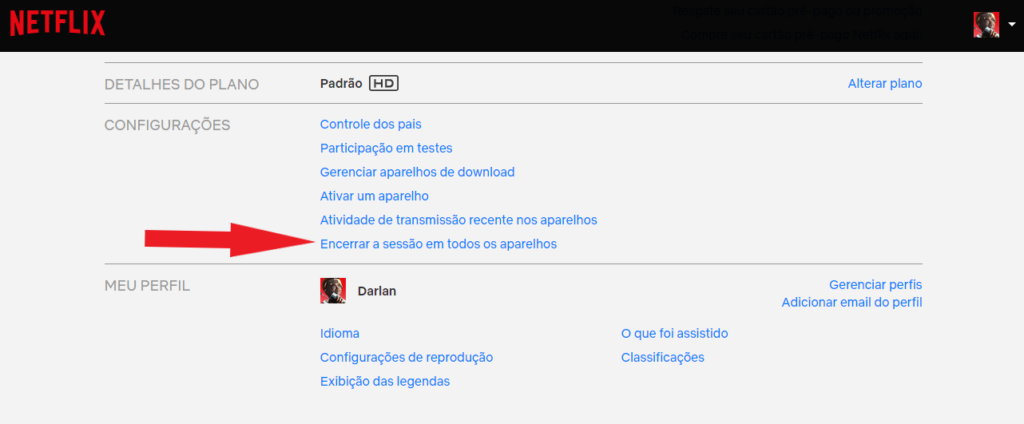 Reprodução da tela de conta do usuário no site da netflix. Foco no item encerrar a sessão em todos os aparelhos, a ser clicado.