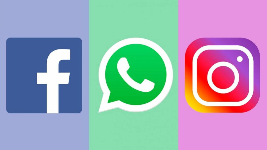 Logo do Facebook, WhatsApp e do Instagram