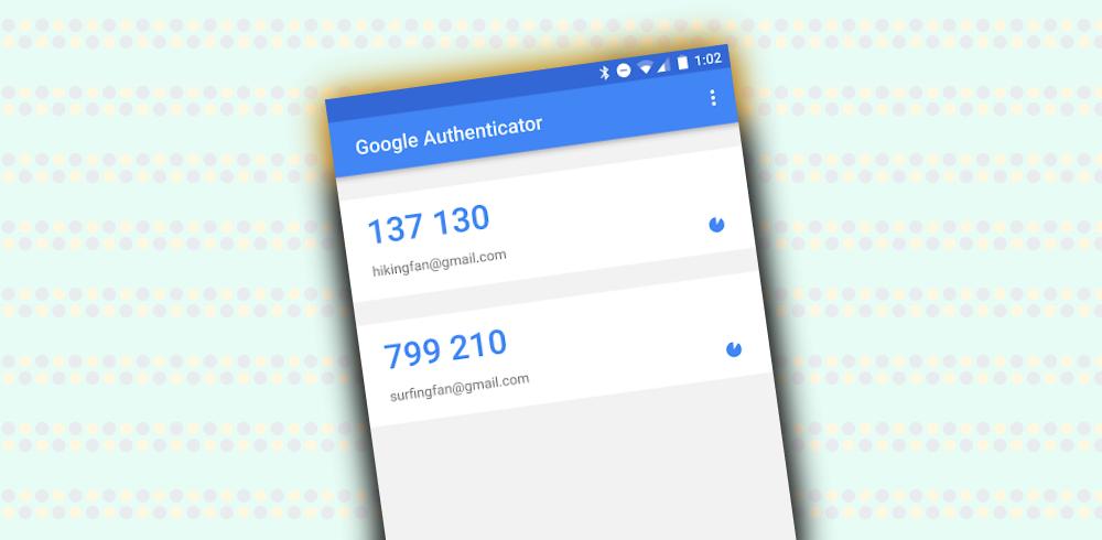Reprodução da tela de token do Google Authenticador sobre um fundo cheio de listras lisas e com bolinhas