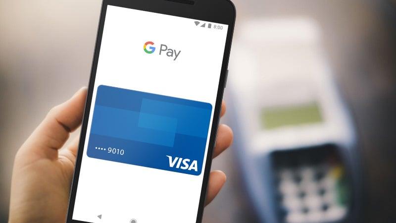 Cartão Visa sendo utilizado com o Google Pay