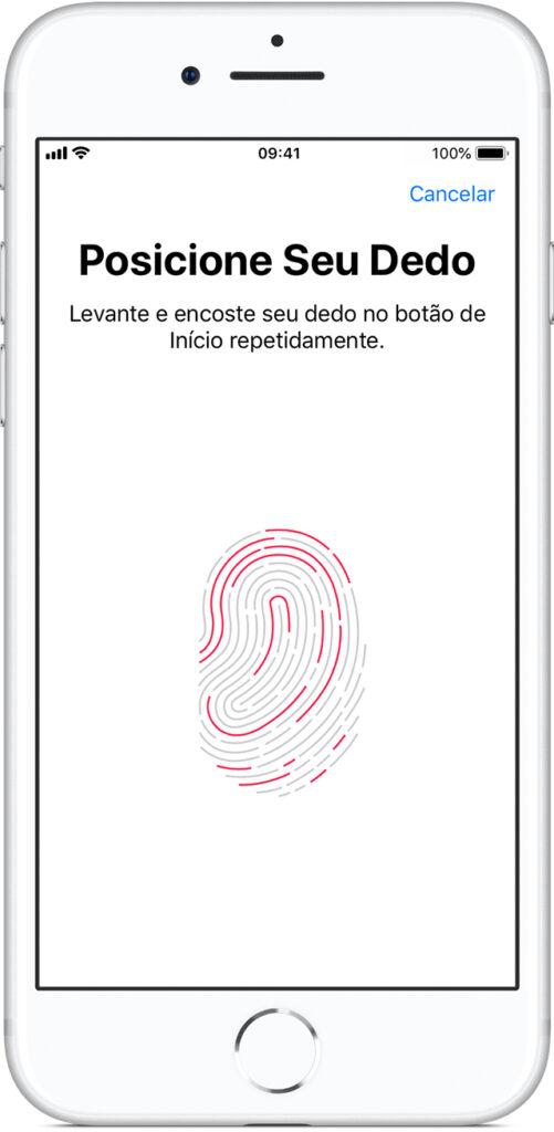Tela de configuração do touch id em um iphone 8 prata.