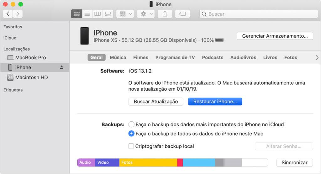 Tela que mostra opção restaurar iphone