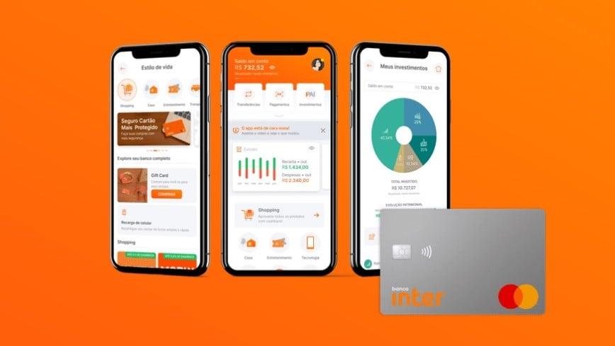 Screenshots do app e cartão do banco inter