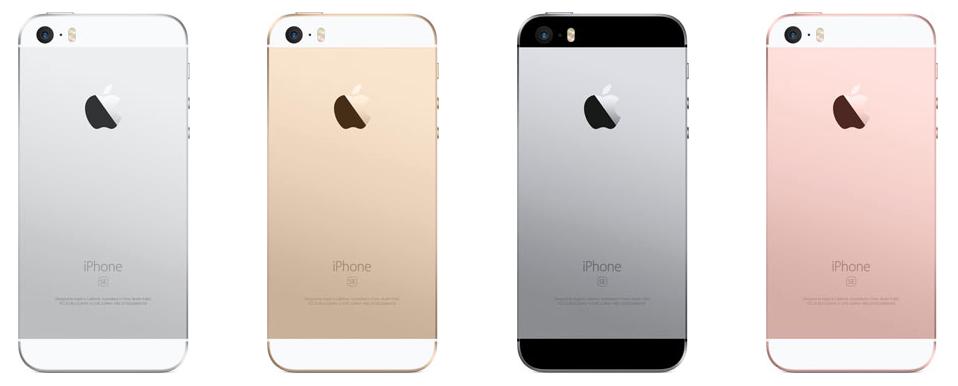Traseira do iphone se em quatro cores: prata, dourado, cinza espacial e rosa.
