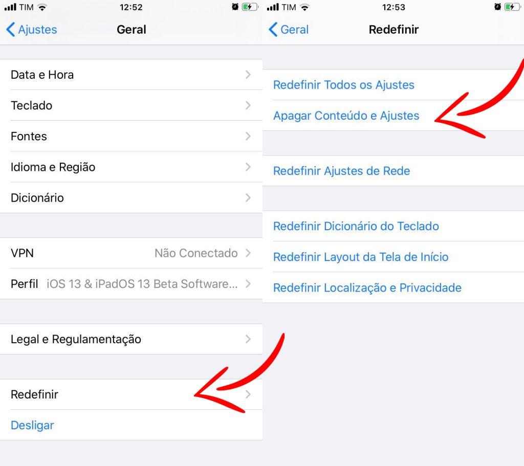 Reprodução da tela do iphone com menus que devem ser acessados no procedimento
