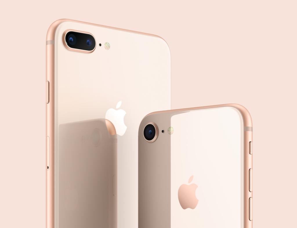 Traseira do iPhone 8 e do iPhone 8 Plus na cor dourada lançados em 2017 pela Apple. O novo iPhone 9 terá o mesmo design.
