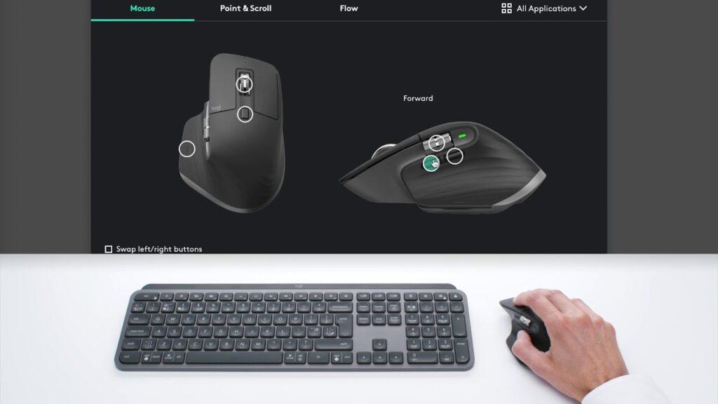 Montagem com o mouse no topo de uma teclado e outro mouse na parte inferior da imagem