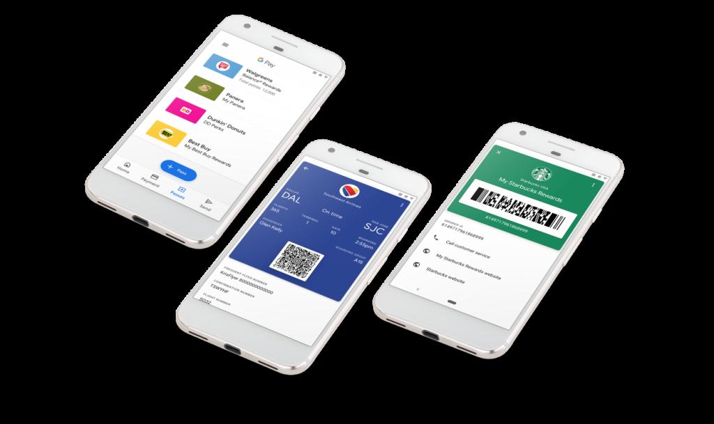 Imagem de passes e bilhetes no Google Pay
