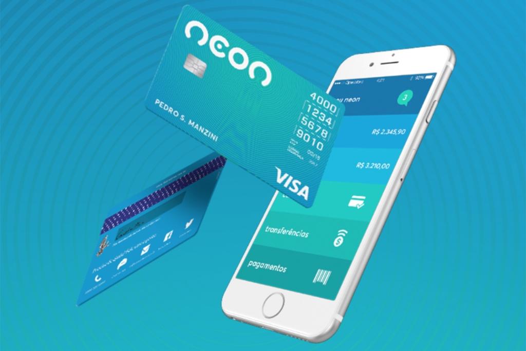 Screenshot do app e cartão do banco neon.