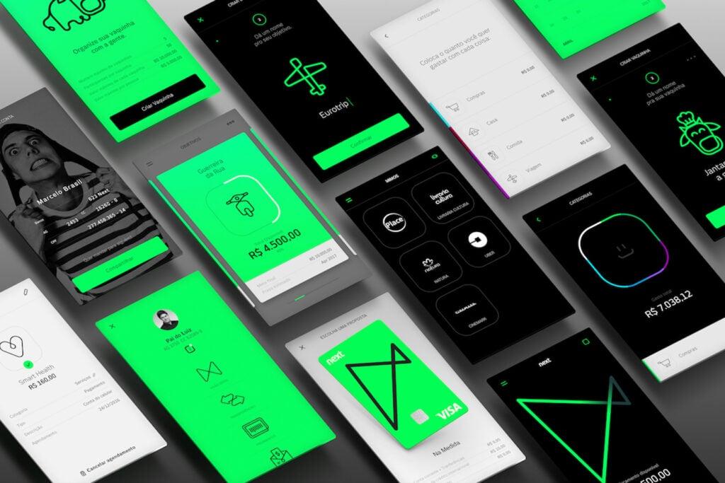 Screenshots do app do banco next.