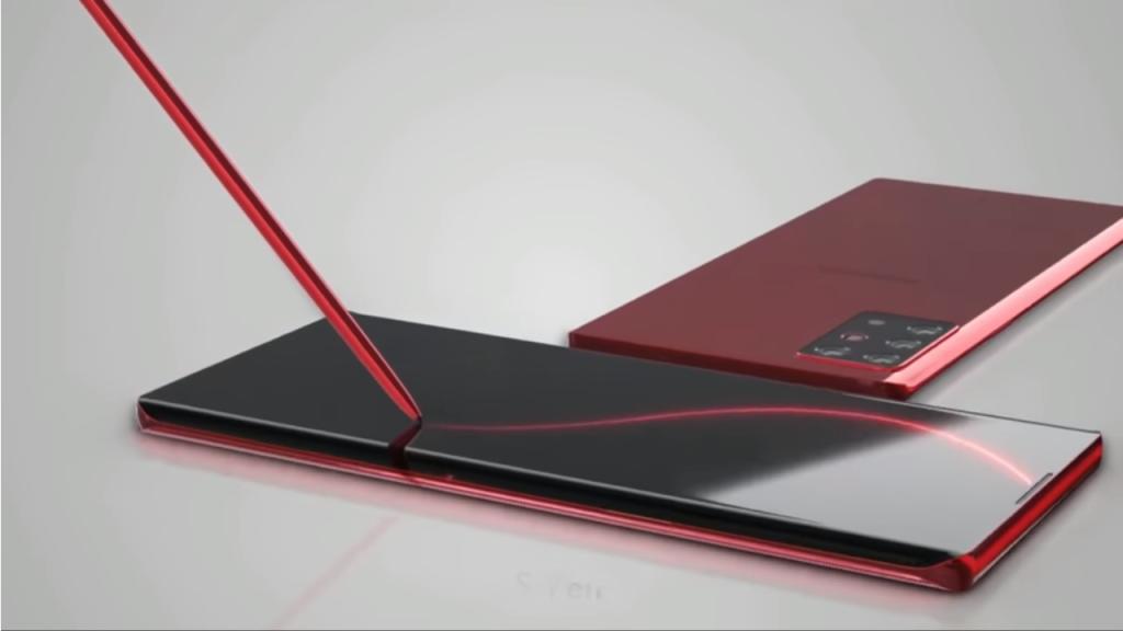 Conceito do Samsung Note 20 em cor vermelha