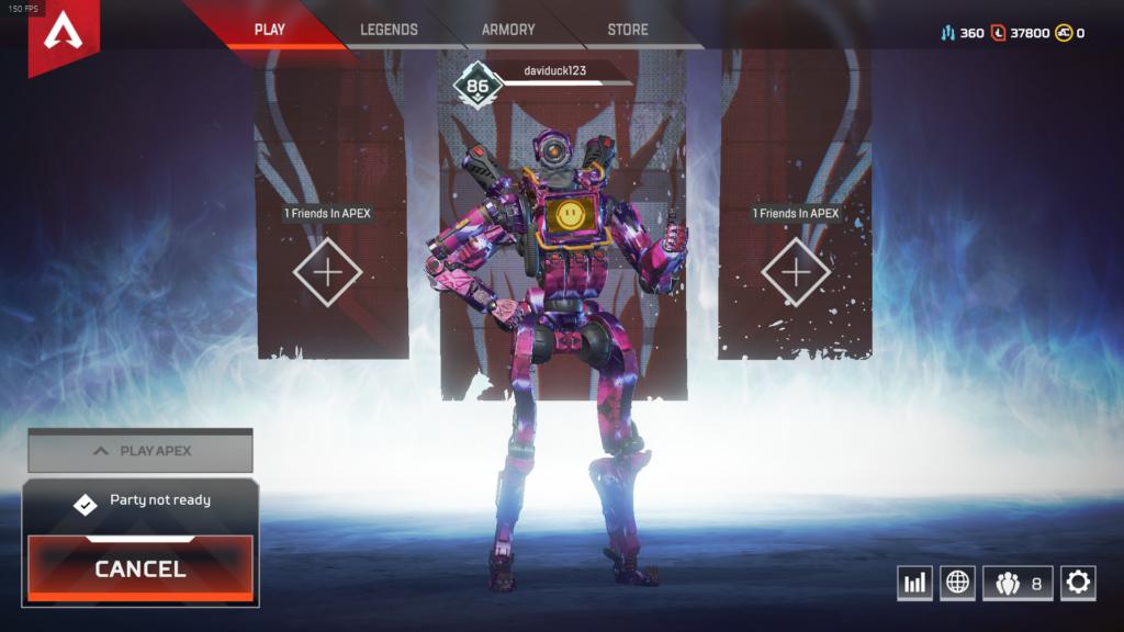 Pathfinder персонаж в коридоре, в то время как загружается матч Apex Legends