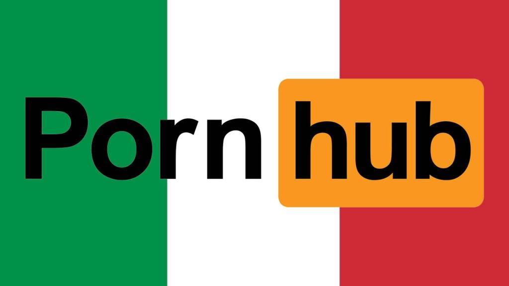 Logo do pornhub com as cores da bandeira da itália atrás