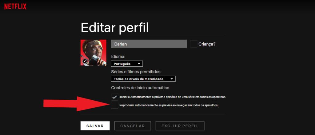 Reprodução da área de edição de perfil do usuário. Foco na opção de reprodução automática de prévias, que deve ser desmarcada.