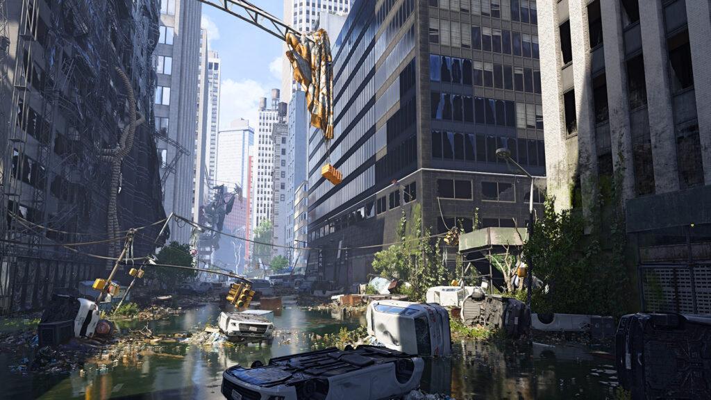 Imagem de uma rua de nova york devastada e repleta de destroços