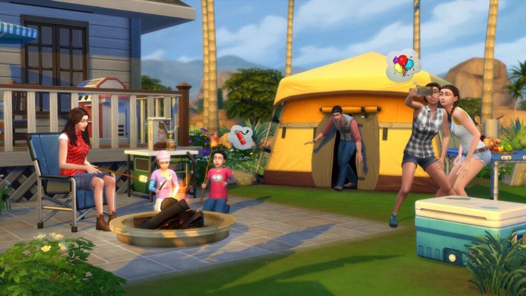 Família interagindo no quintal em The Sims 4