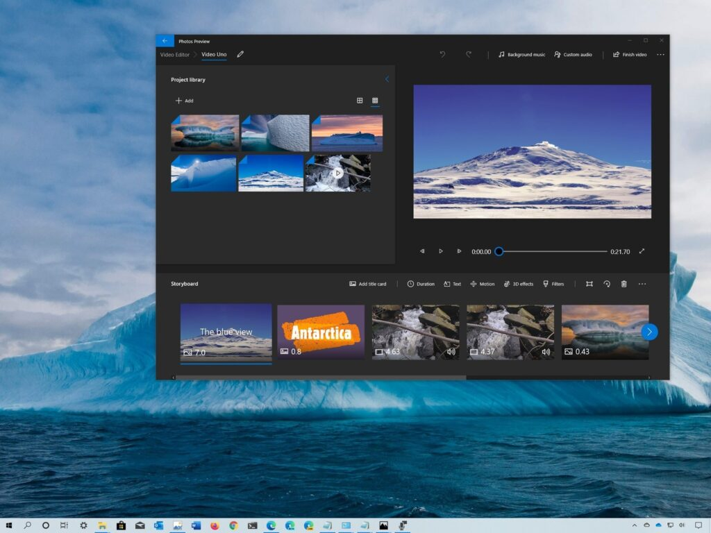 Fotos sendo manipuladas no programa de Fotos do Windows 10