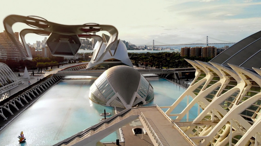 veículo voador de westworld sobrevoa central da DELOS