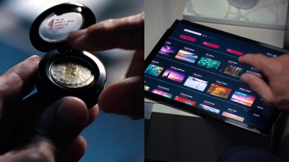 droga circular sendo retirada de recipiente com tampa; um tablet com possibilidade de seleção de diferentes cenários multicoloridos de Westworld