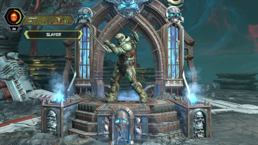 Imagem do Doom Slayer antes de iniciar uma partida online.