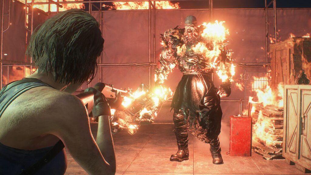Jill atacando nêmesis com uma espinguarda