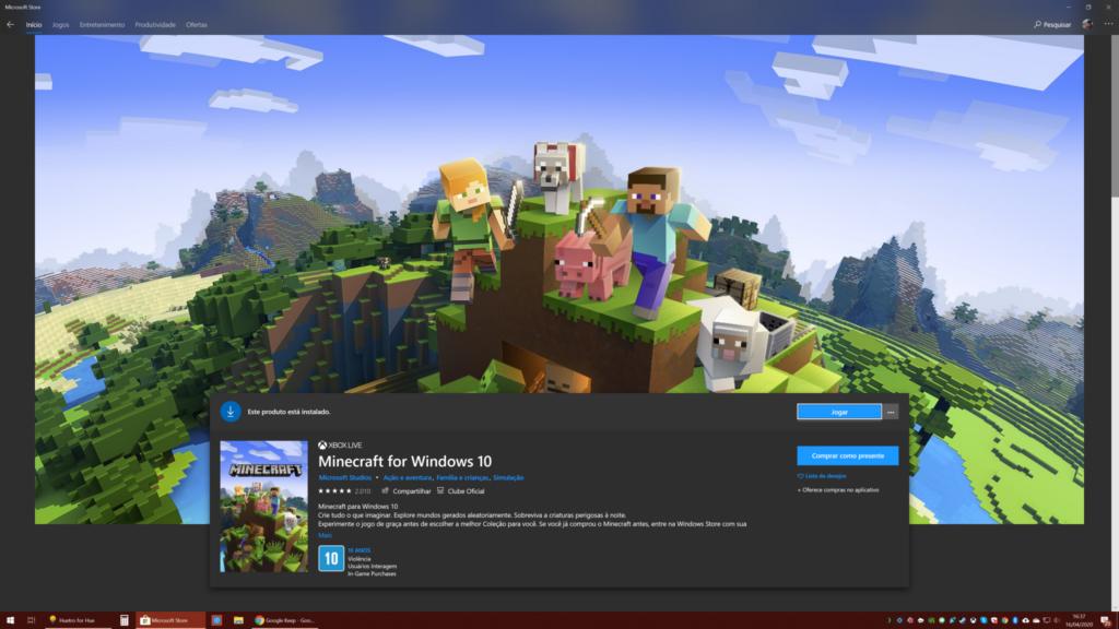 Tela de início do Minecraft RTX