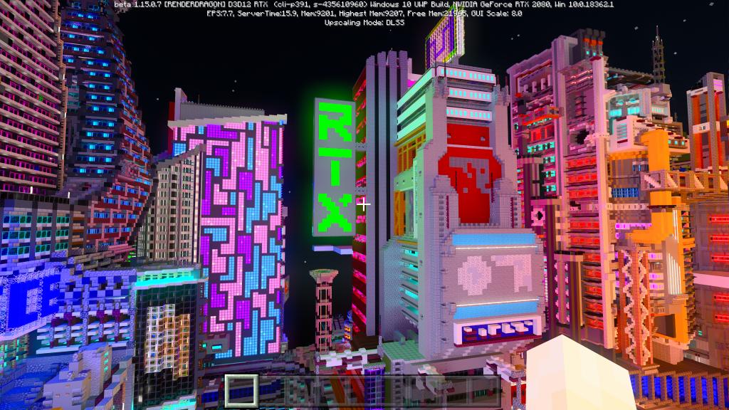 Cidade cheia de luzes em Minecraft RTX