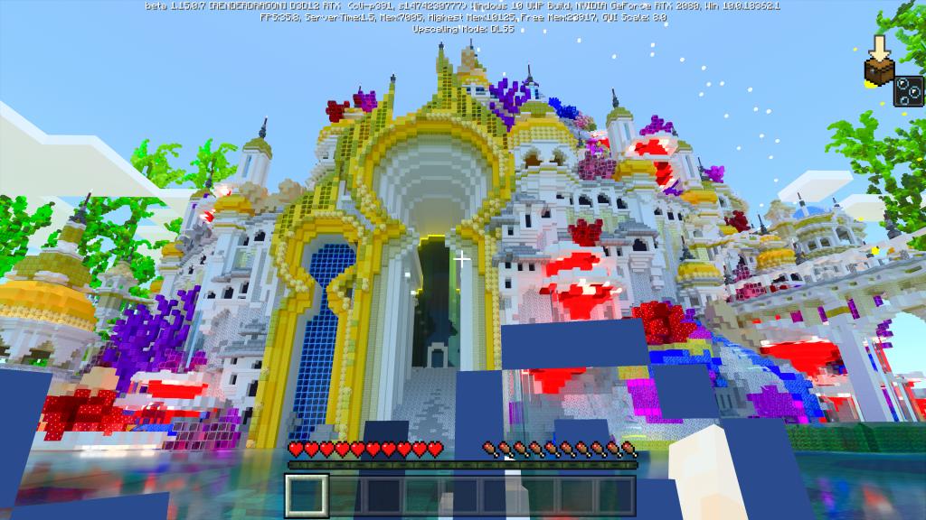 Cidade com templos com cores e luzes em Minecraft RTX
