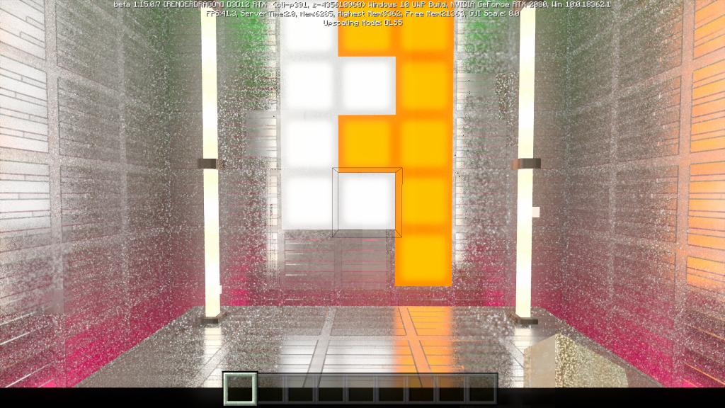 Sala simples em Minecraft RTX