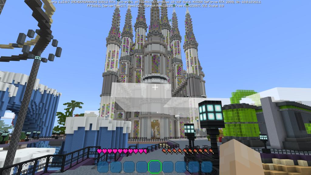 Catedral sem uso de luzes em Minecraft RTX