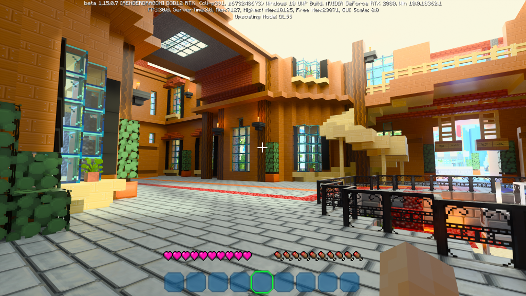 Sala iluminada em Minecraft RTX