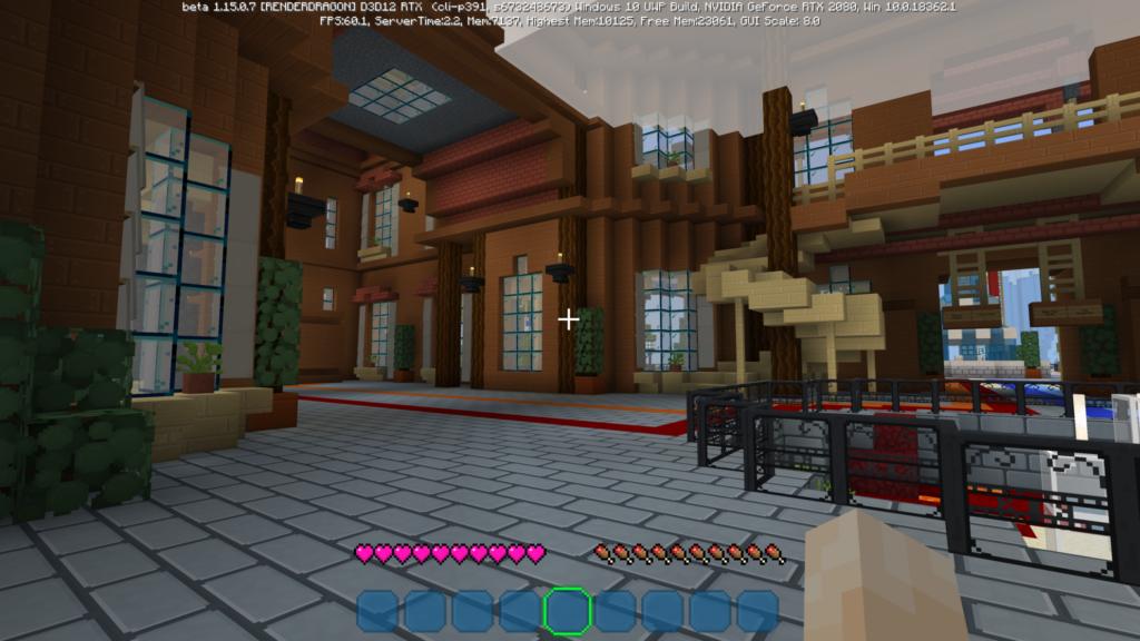 Sala sem iluminação em Minecraft RTX