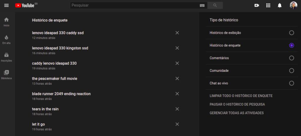 Outras opções de limpeza de dados do YouTube