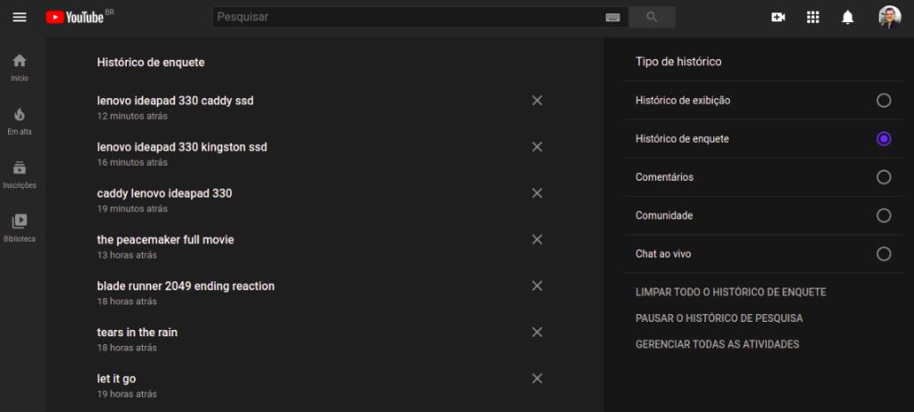 Limpando todo o histórico de buscas no browser