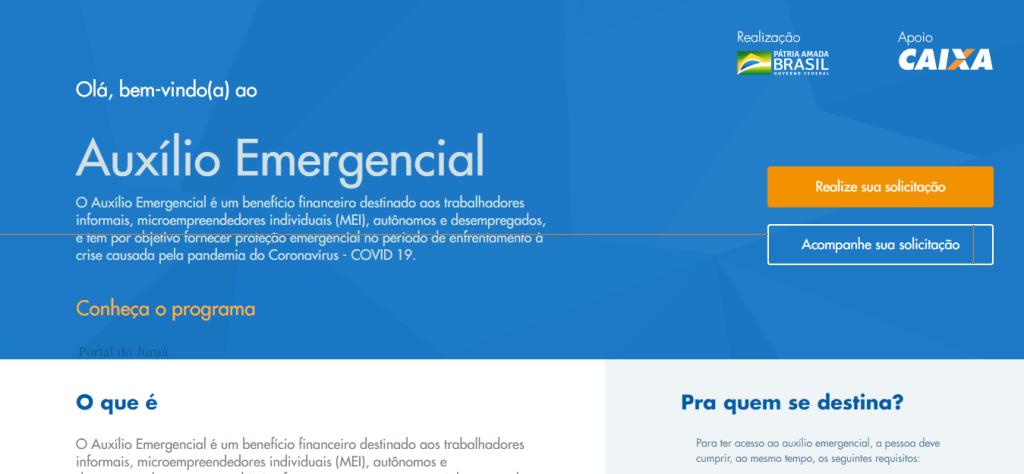 Tela do site Auxílio Emergencial da Caixa