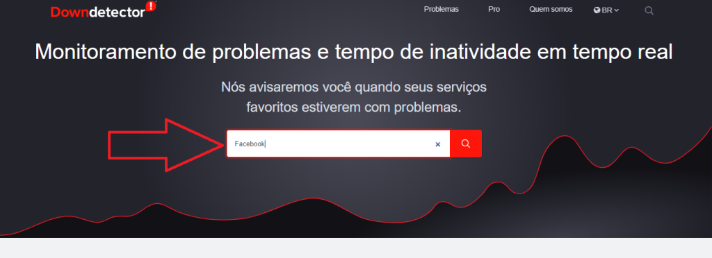 Tela principal do downdetector