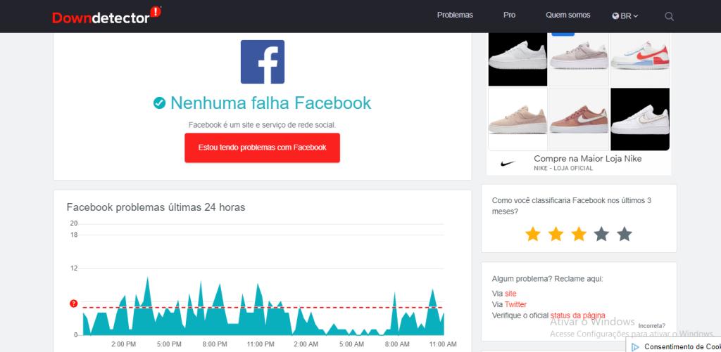 Página do Downdetector, em que é possível ver se o Facebook caiu