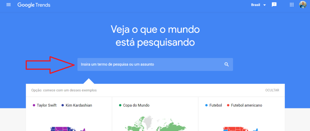 Página principal do google trends