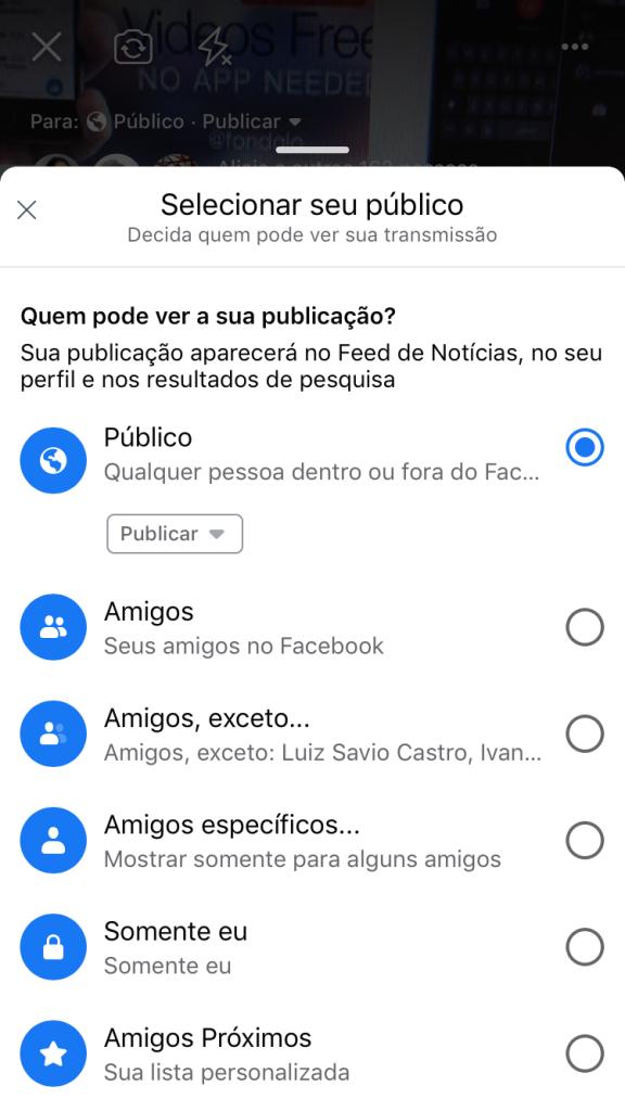Tela com o caminho de como fazer uma live no Facebook