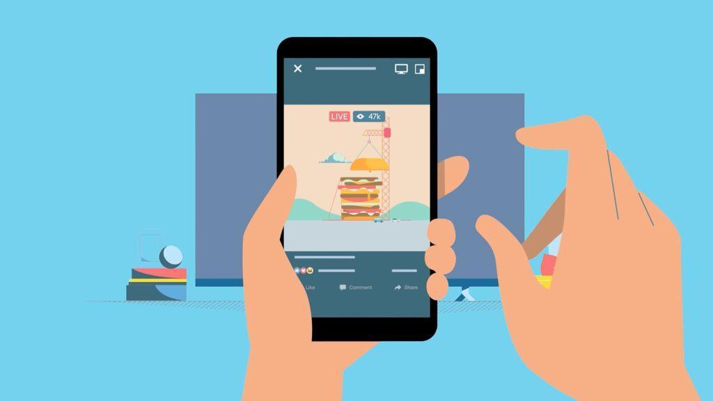 Ilustração com celular e smart tv de fundo